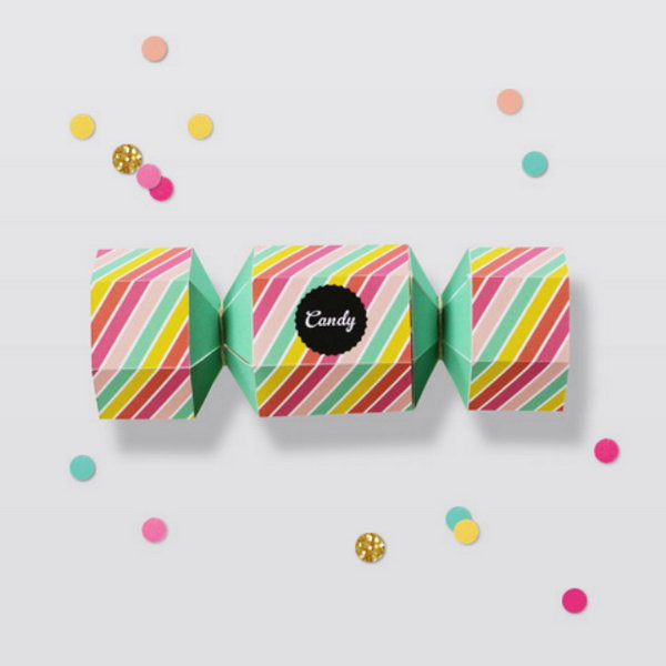 24 Candy Striped Favor Box