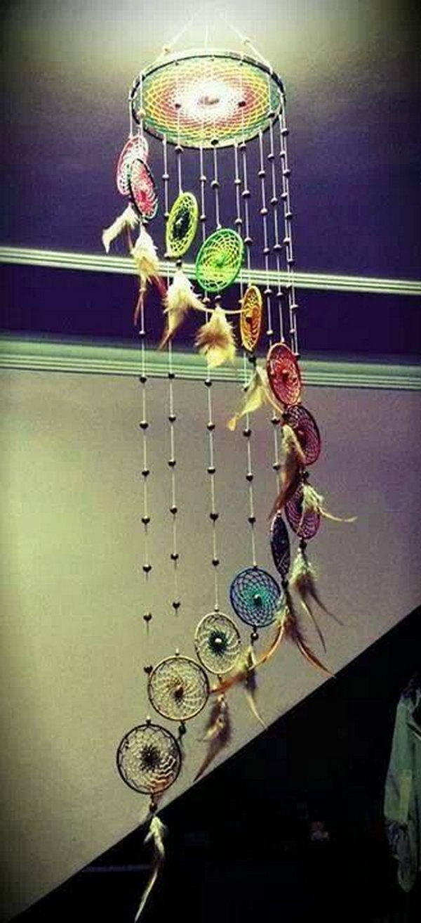 24 Rainbow with Beads Dream catcher Mobile