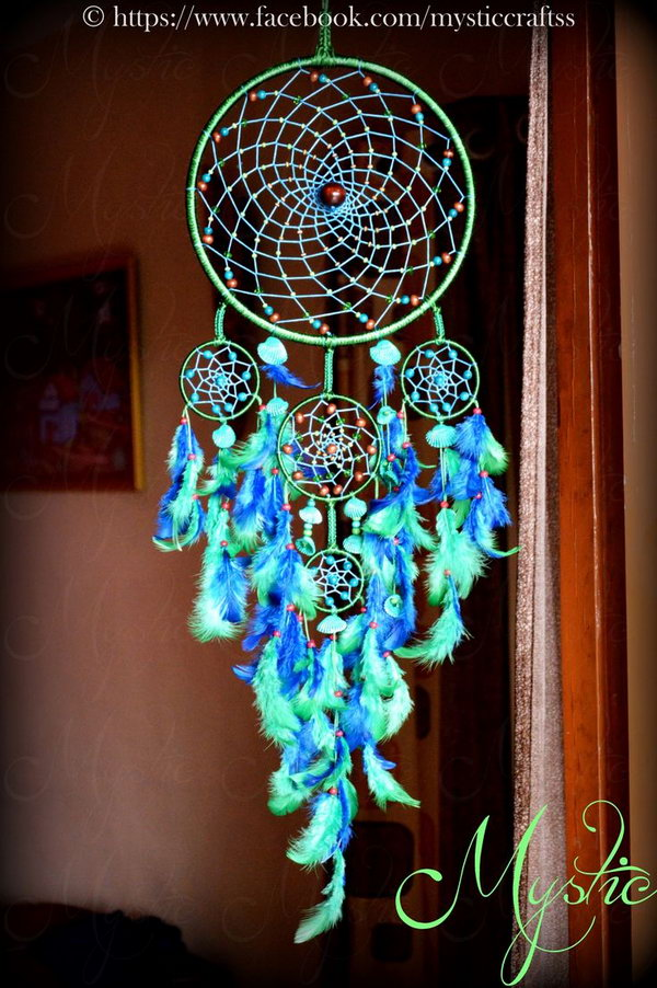 25 Seashell and Feather Decorated Dream catcher