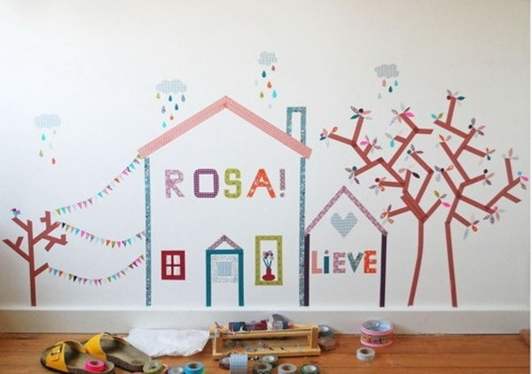 3 Create a Mural with Washi Tape in a Kids Room