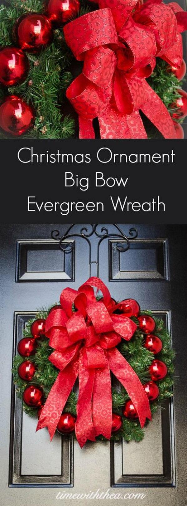 3 DIY Christmas Ornament Big Bow Evergreen Wreath