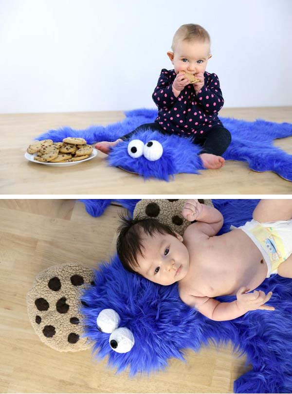 3 Easy DIY Cookie Monster Fur Rug With Cookie Pillows