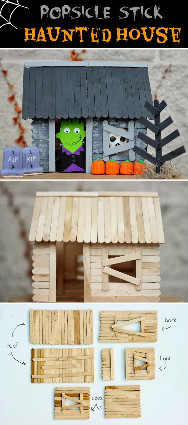 3 Popsicle Stick Haunted House for Halloween