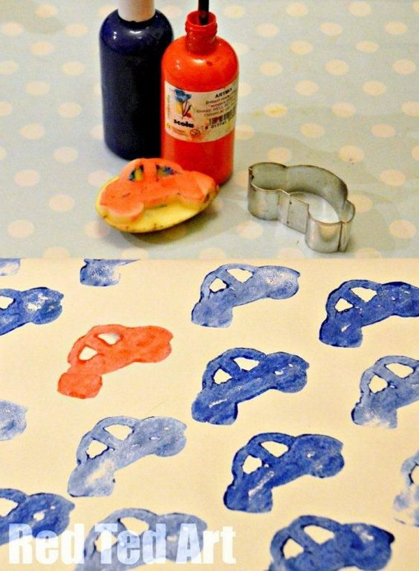 3 Potato Print Cars for Kids Gift Wrapping