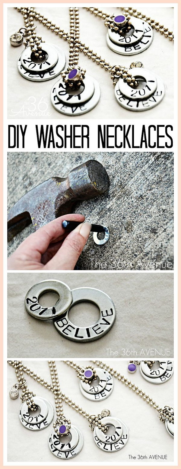 4 DIY Hand Stamped Washer Necklaces