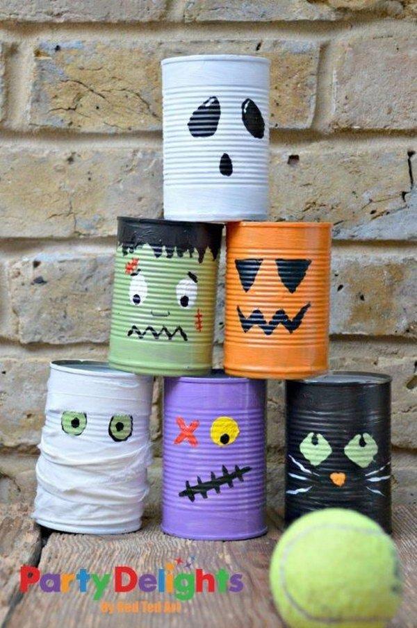 4 Halloween Tin Can Bowling