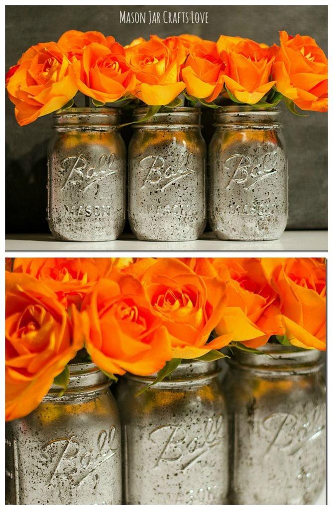 4 Mercury Glass Mason Jars Tutorial