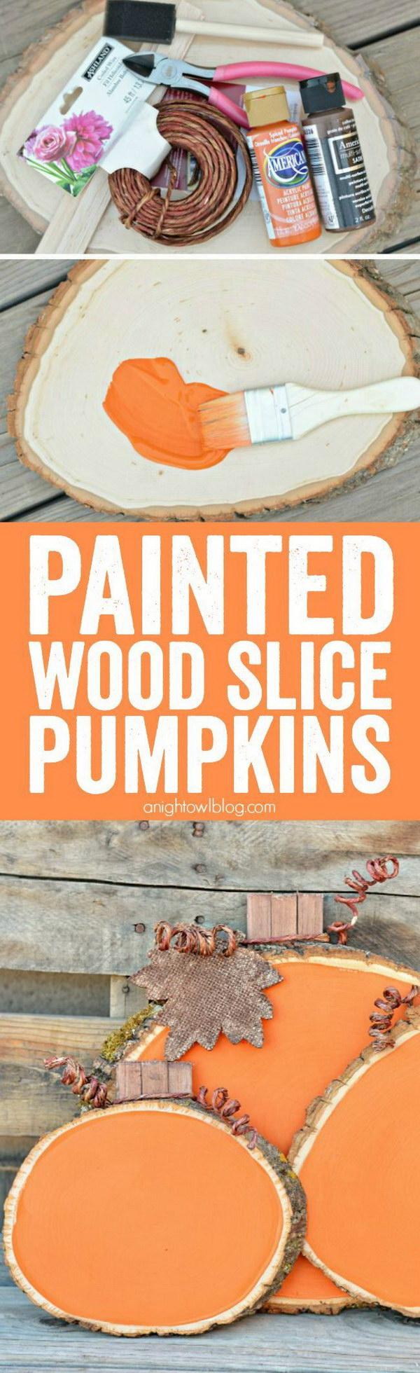 4 Painted Wood Slice Pumpkins
