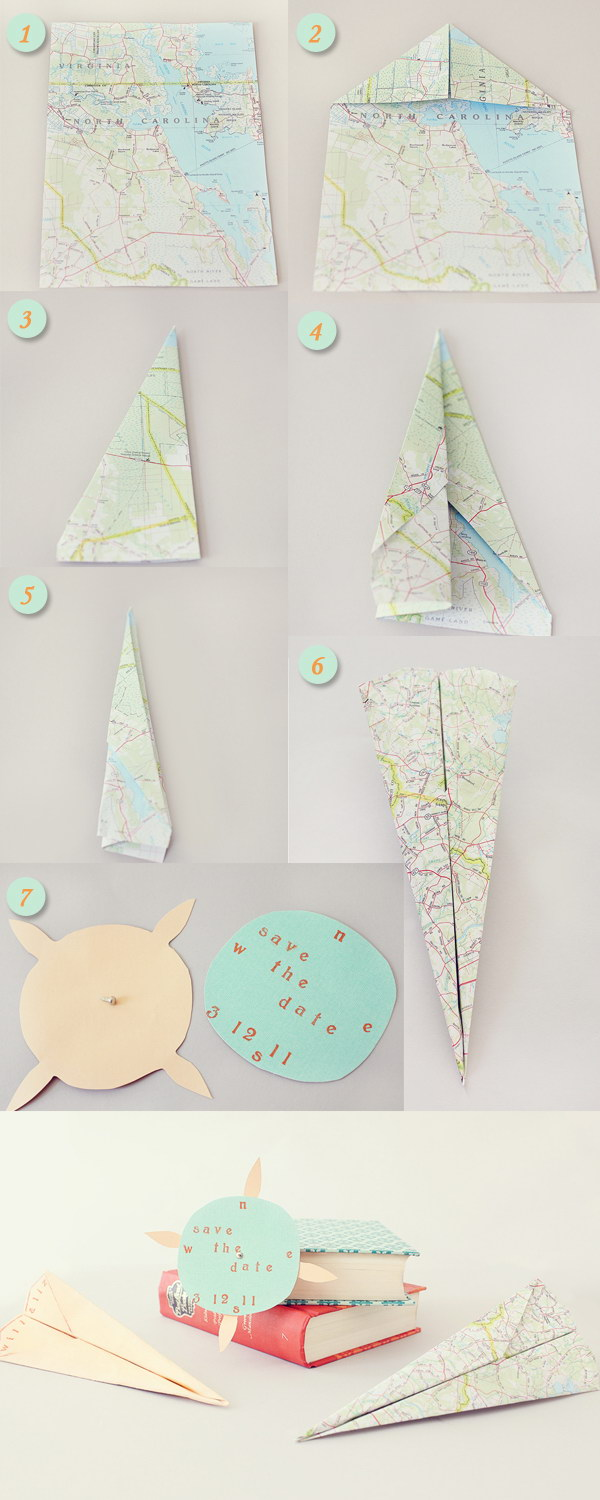 5 DIY Save the Date Paper Airplane Maps