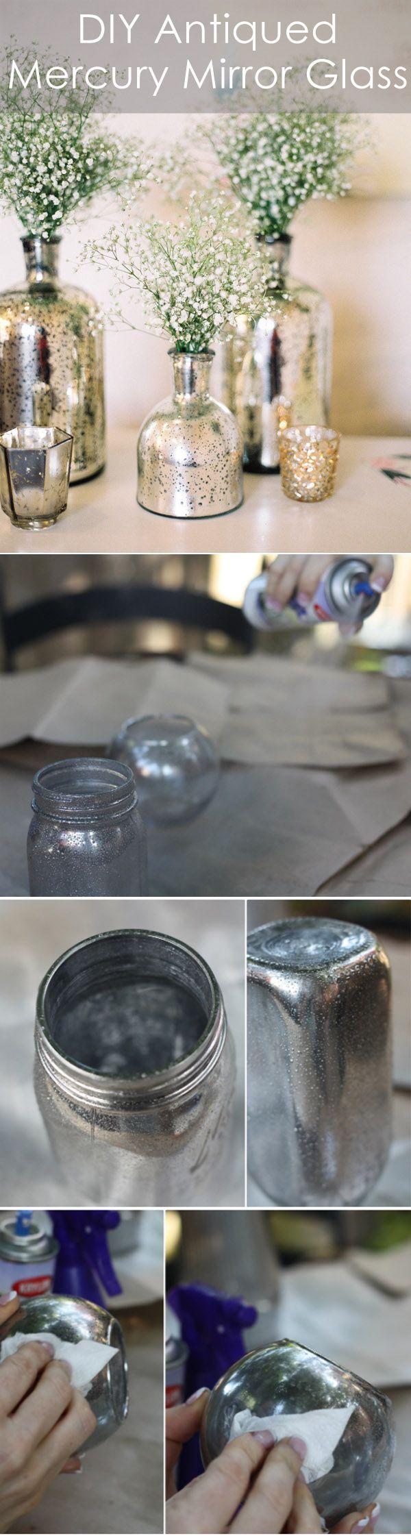 6 DIY Antiqued Mercury Mirror Glass Vases