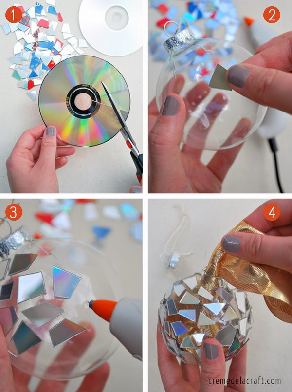 6 DIY Mosaic Ornaments from CDs