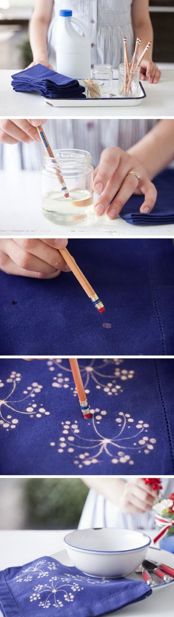 6 Fabric Bleach Art Table Napkins