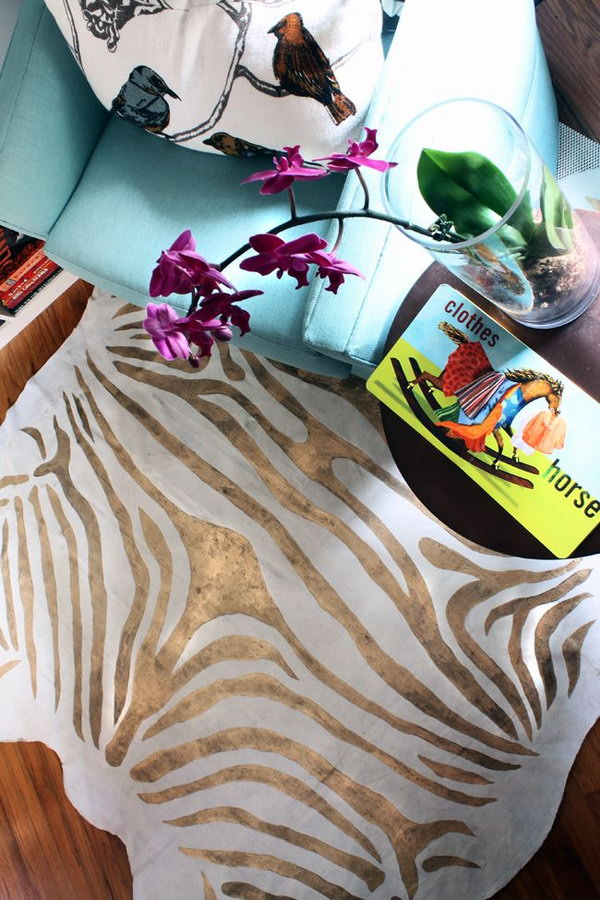 6 Painted Gold Zebra Rug on a Drop Cloth