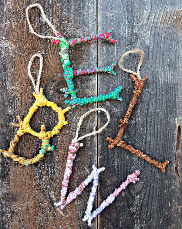 7 Colorful Yarn Bombed Twigs Letter Ornaments