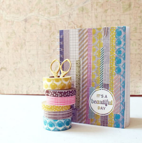 8 Cover a Boring Notebook with Washi Tape