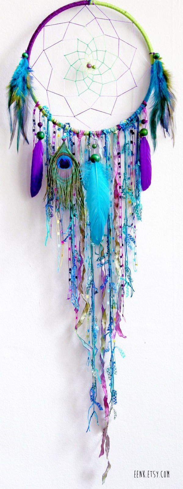 8 DIY Blue Feather and Bead Dream catcher