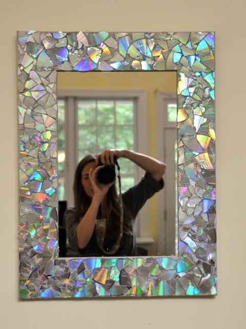 8 DIY CD Mosaic Mirror