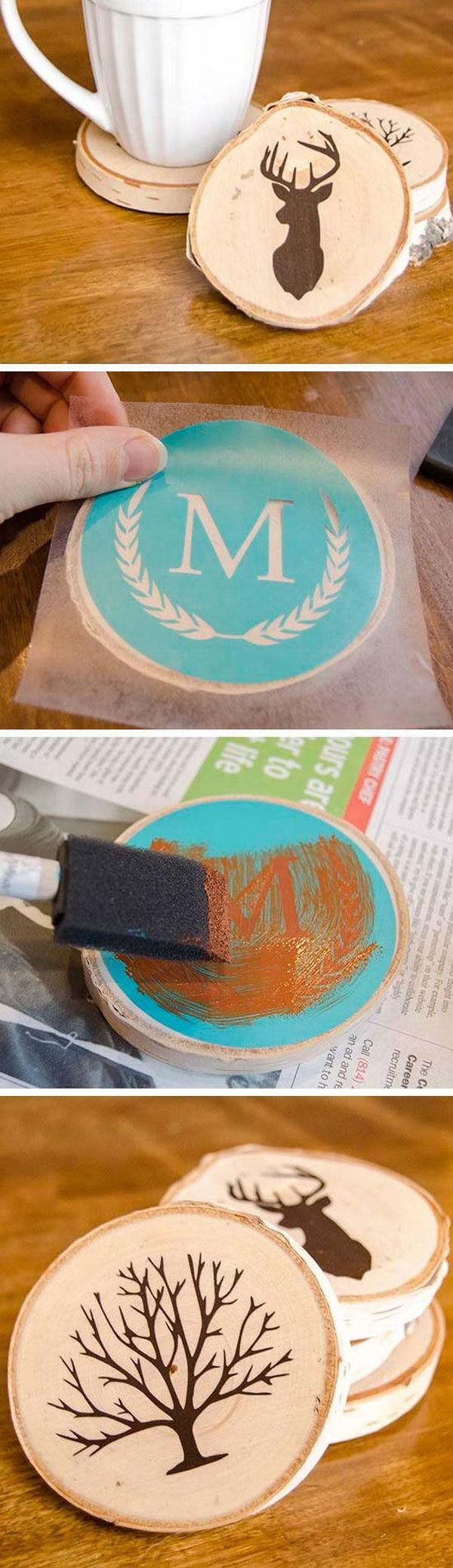 9 DIY Painted Wood Slice Coasters