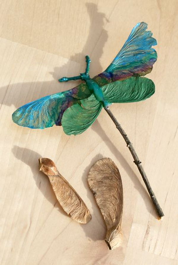 9 Dragonfly Made out of Maple Seeds and Twigs