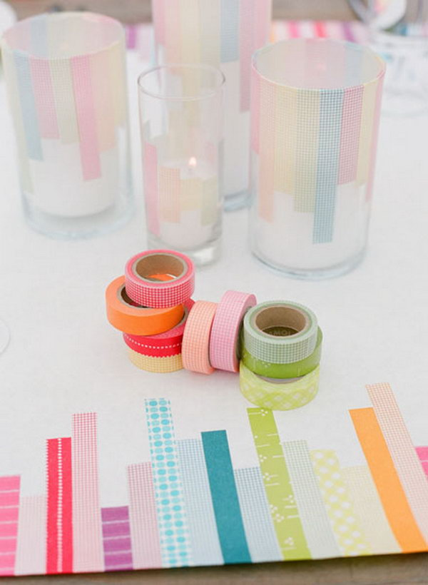 9 Glass Candle Holders Decoration with Washi Tape