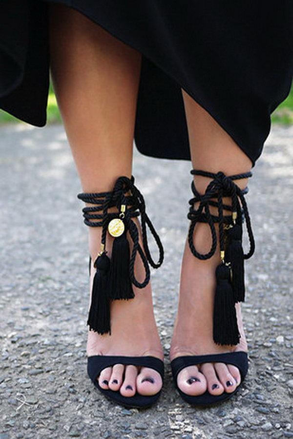1 DIY Tassel Heels Just Using Some Tassels and Rope