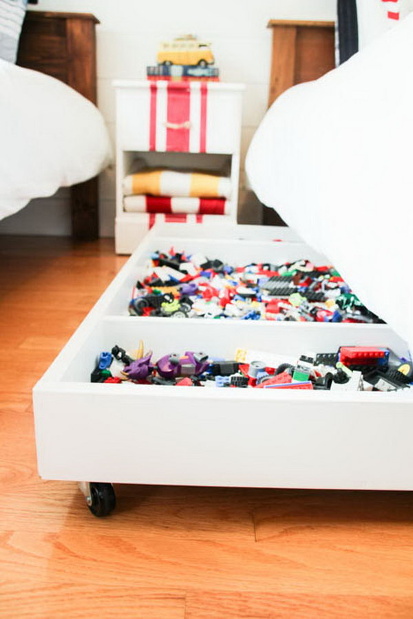 1 DIY Under Bed Rolling LEGO Storage Cart