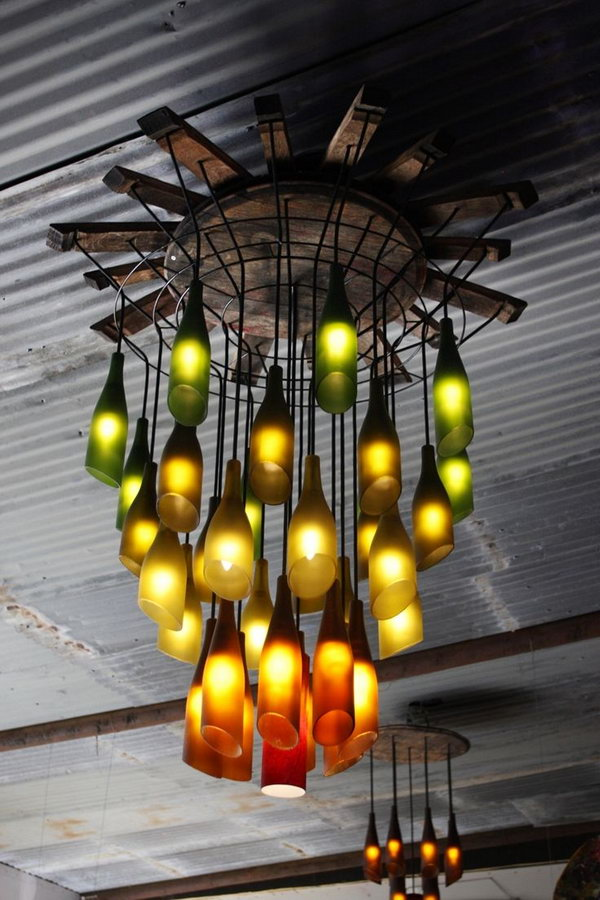 1 Recycled Wine Bottle Chandelier