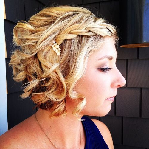 1 curly blonde bob with a braid for prom