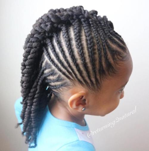 1 girls mohawk with cornrows and twists