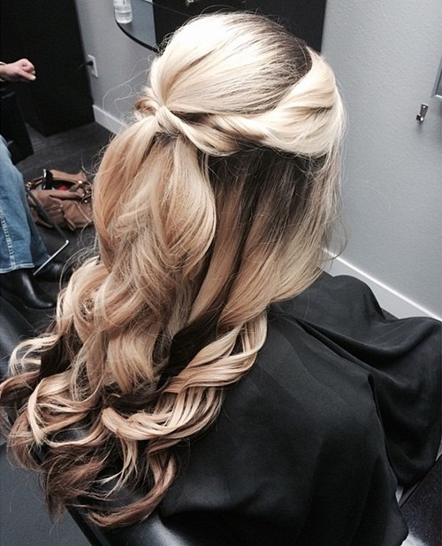 1 half up curled formal hairstyle for long hair