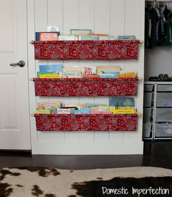 10 DIY Book Slings with Cloth and Wooden Dowels