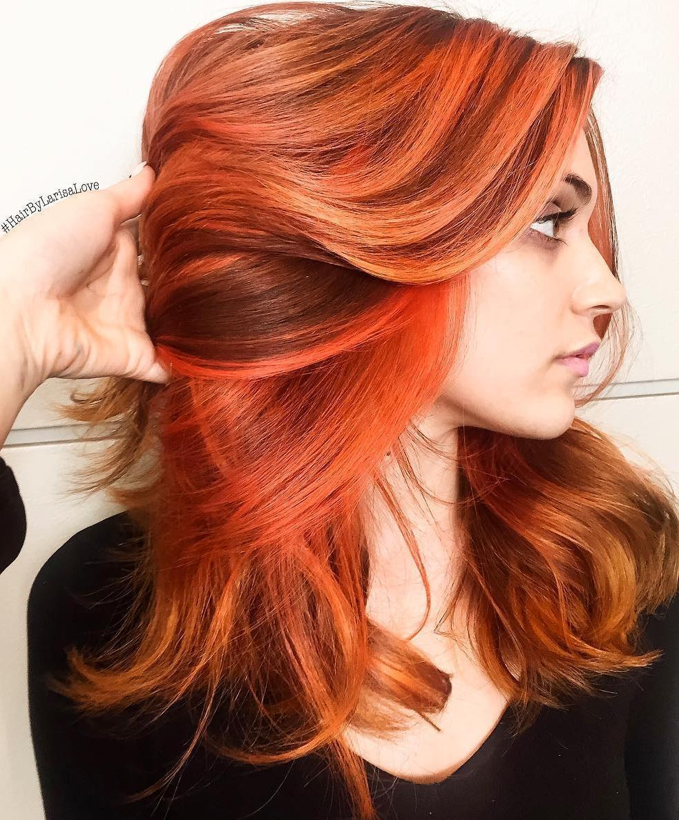 10 copper hair with orange highlights