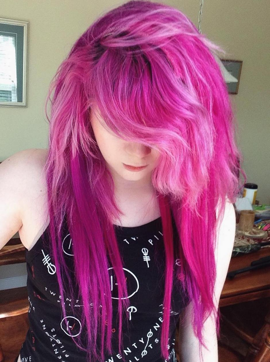 10 long layered pink hairstyle