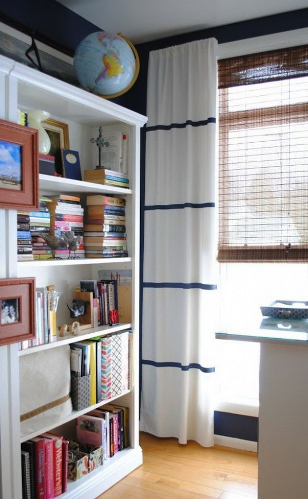 11 Adding Sleek Stripes to White IKEA Curtains