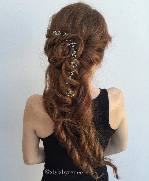 11 curly half updo for long hair
