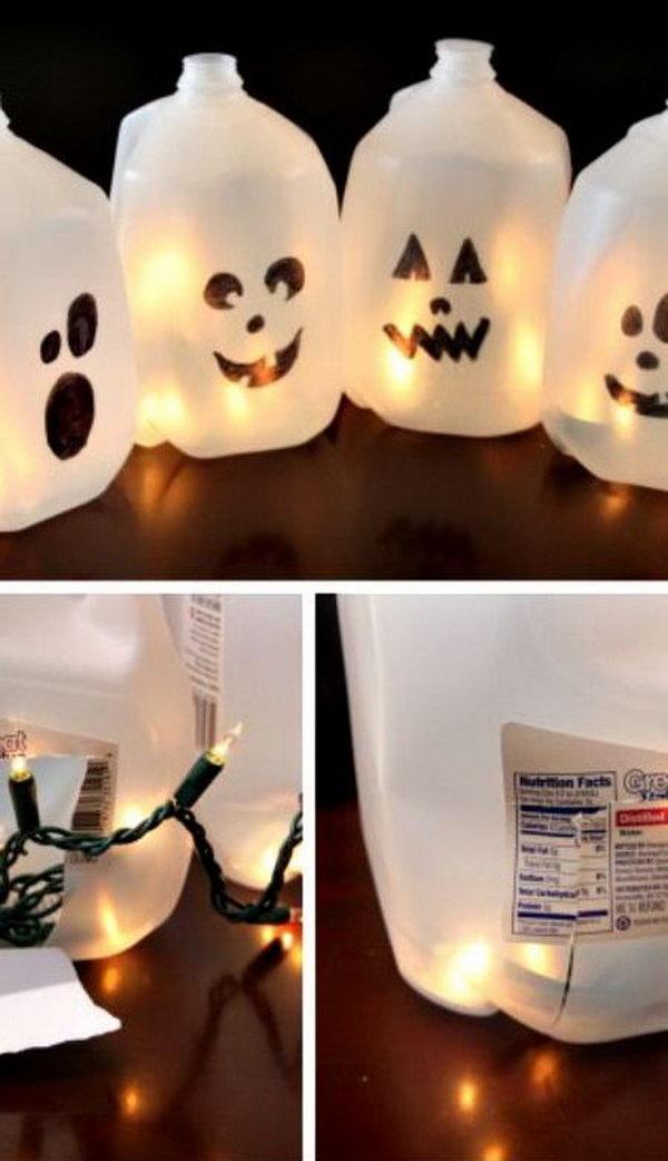 12 Halloween Milk Jug Ghosts