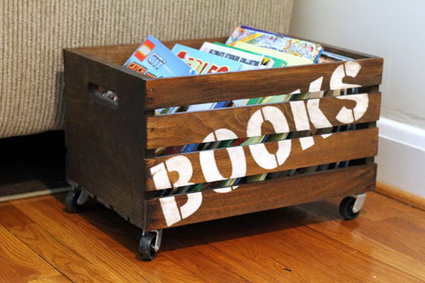 12 Wooden Books Storage Crate