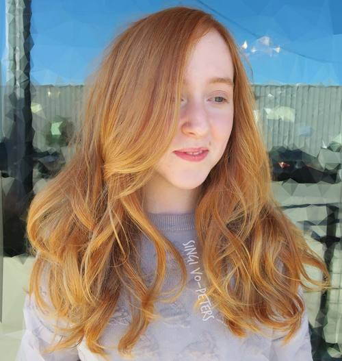 12 light red hair with golden blonde balayage