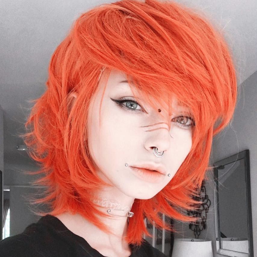12 medium layered orange hair