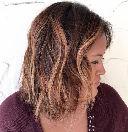 12 shaggy brown balayage bob