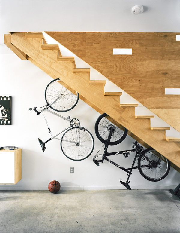 13 Built-in Bicycle Racks in a Staircase
