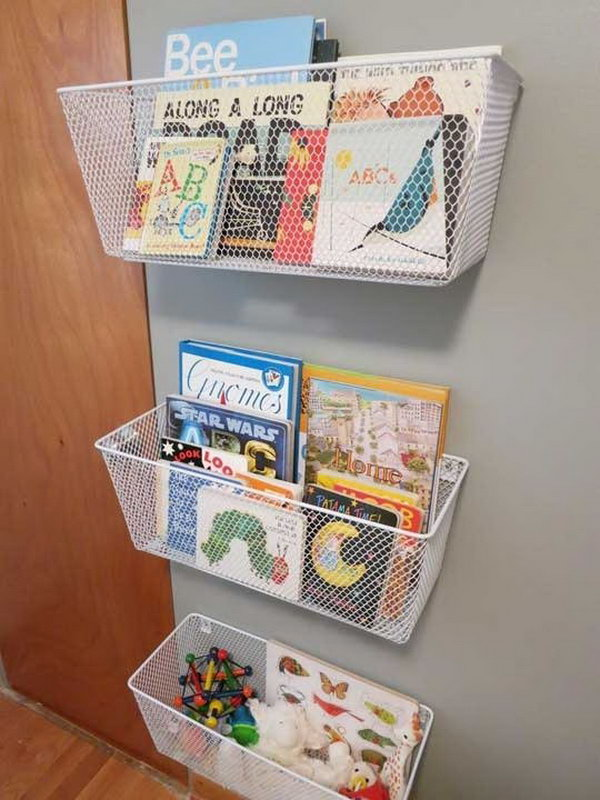 13 Chicken-wire Baskets Used as Book Racks