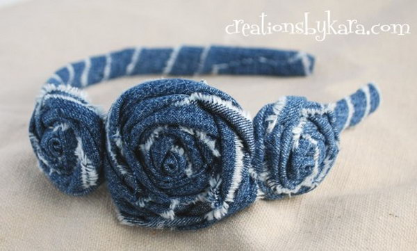13 DIY Denim Rosette Headband