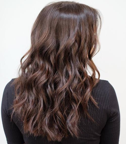 13 dark brown wavy choppy haircut
