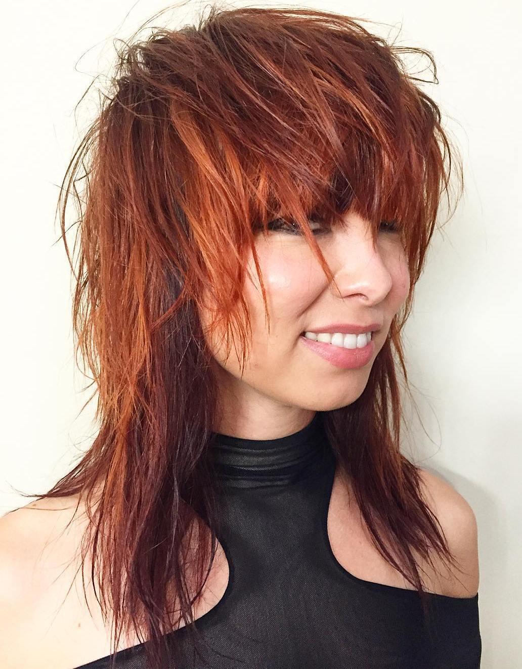 13 medium red shag haircut