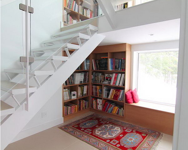 14 Create the Open Bookshelves under the Stairs together with a Reading Nook Besides the Windows