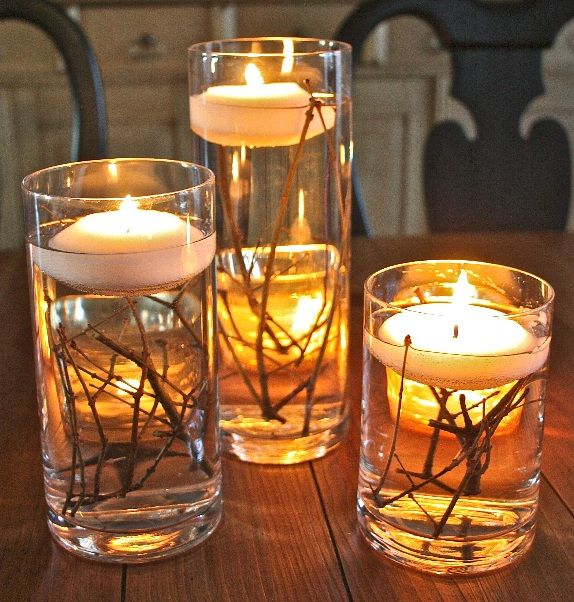 14 Floating Candle Centerpieces with Twigs