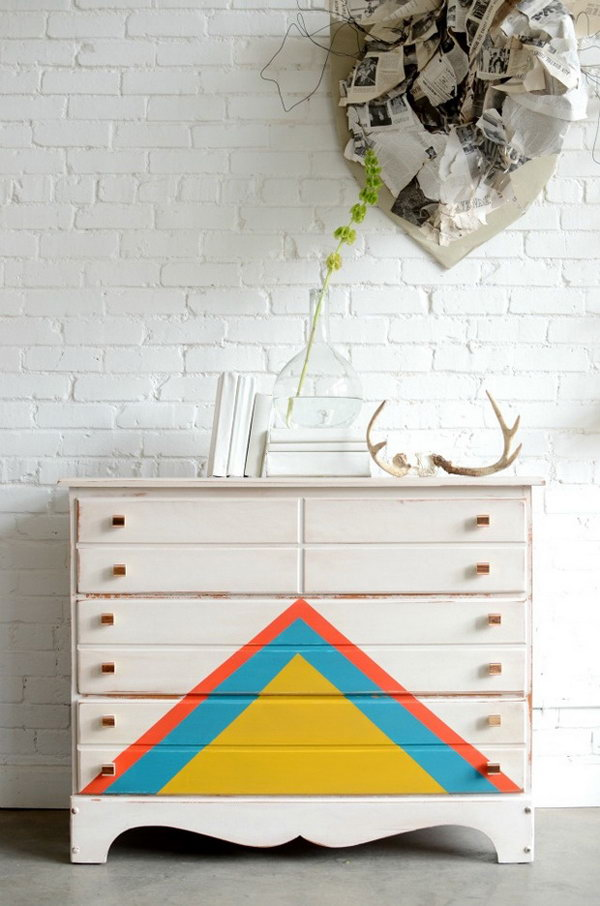 14 Multi-colored Triangles Patterned Dresser