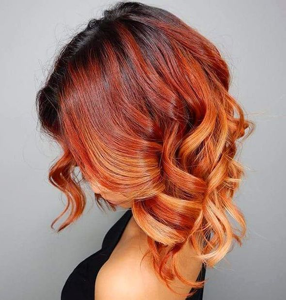 14 red curly ombre hair