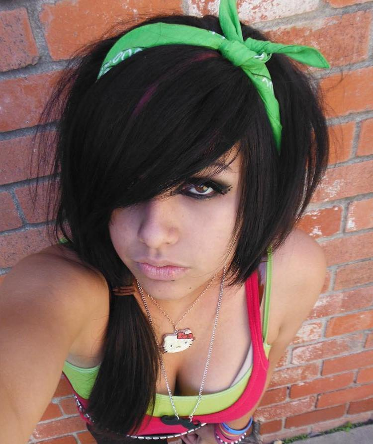 14 tousled emo hairstyle with bandana